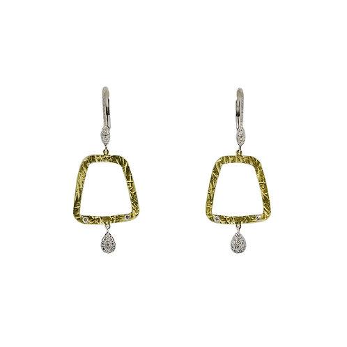 14K Two-Tone Textured Dangle Earrings