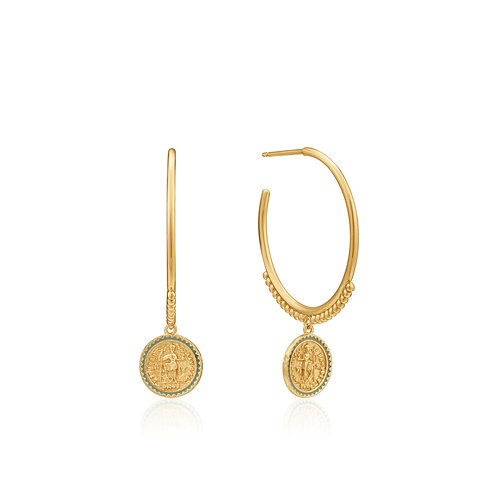 SS/GP Coin Hoop Earrings