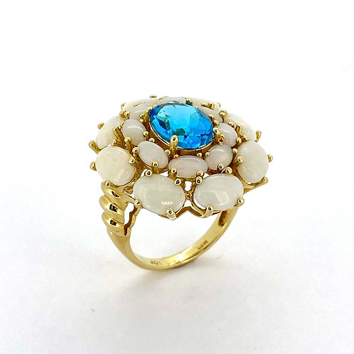 Estate 14KY Opal and Blue Topaz Ring