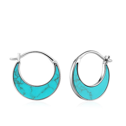 SS Turquoise Crescent Hoops