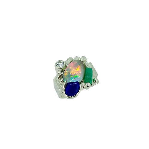 SS Multi Gemstone Ring