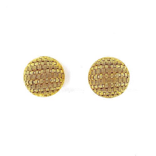 Estate 18KY Basketweave Button Earrings