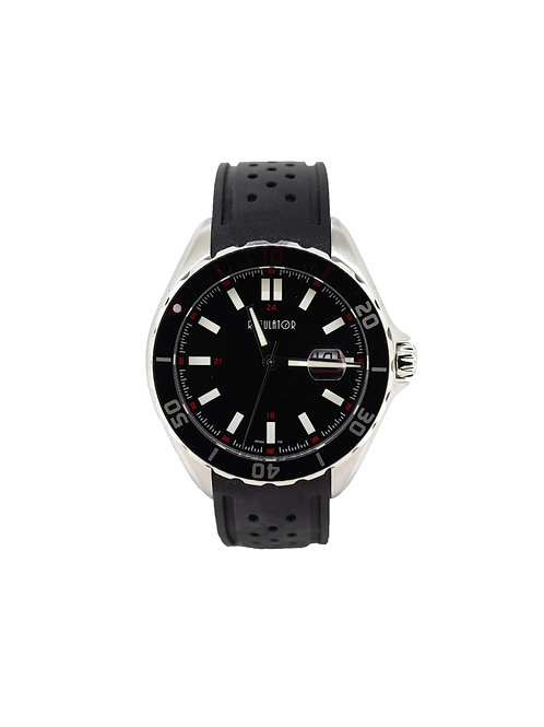 Stainless Steel Sport Watch with Black Dial and Black Silicone Strap.