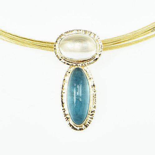 14KY Aquamarine & Moonstone Pendant
