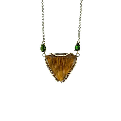 SS/14K Rutilated Quartz and Green Tourmaline Necklace
