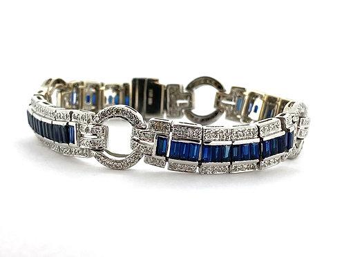 Estate 18KW Sapphire & Diamond Bracelet
