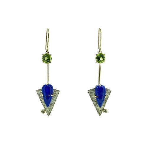 SS/14K Lapis and Peridot Dangle Earrings