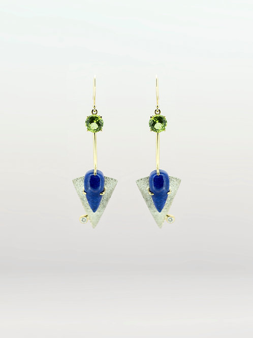 SS/14K Lapis and Peridot Dangle Earrings