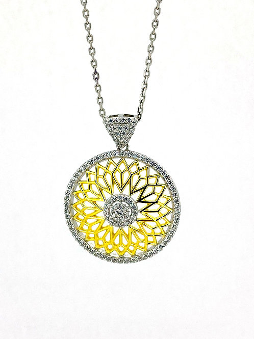 SS Large Sunflower Pendant