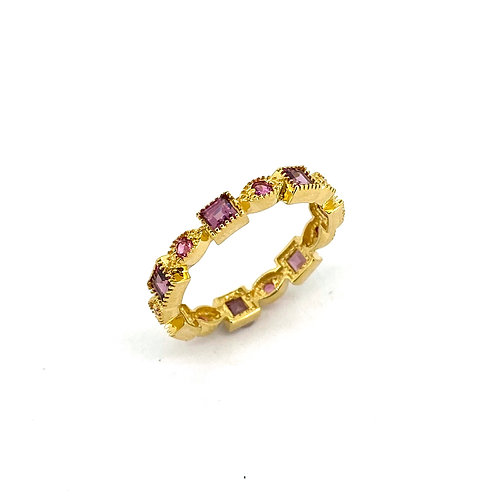 Estate 14KY Pink Sapphire Band