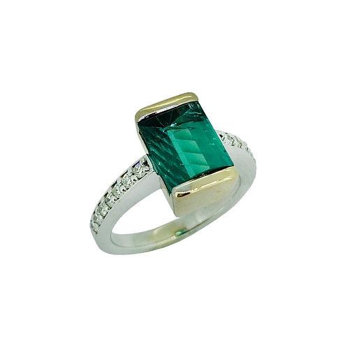 14K Two-Tone Tourmaline Ring with Diamonds