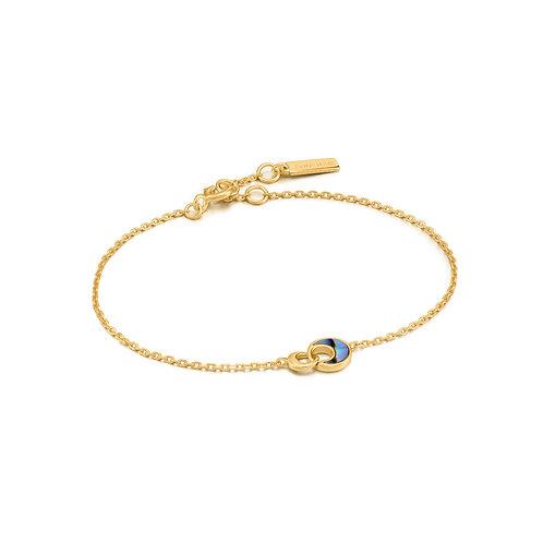 SS/GP Abalone Crescent Link Bracelet