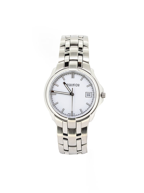 Stainless Steel Mid-Size Watch with White Dial.