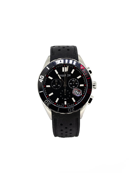 Stainless Steel Chronograph Sport Watch with Black Dial and Black Silicone Strap