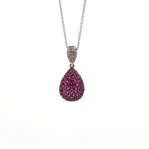 Estate 14KW Ruby and Diamond Pendant