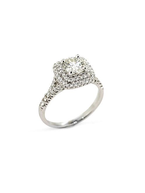 14KW Double Square Halo Diamond Ring