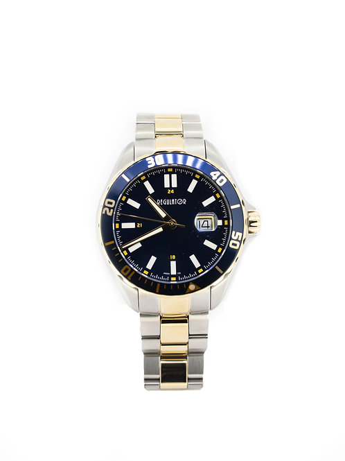 Stainless Steel/Gold Plate Watch with Diver Bezel and Blue Dial
