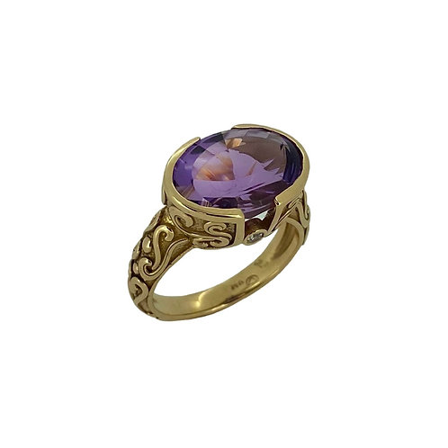 14K Amethyst Solid Scroll Ring