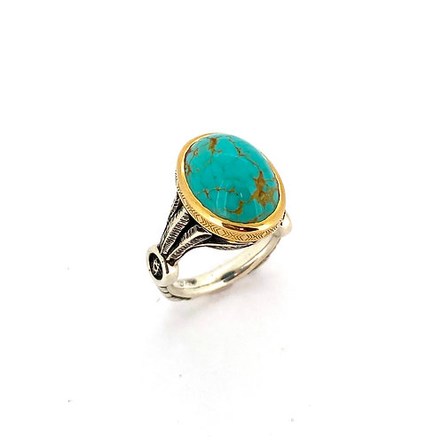 SS/18K Turquoise Dream Catcher Ring