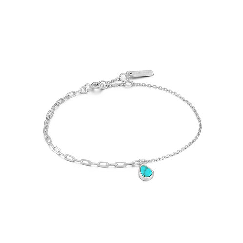 SS Turquoise Mixed Link Bracelet