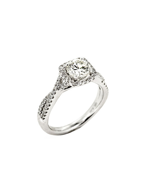 14KW Twist Shank Halo Engagement Ring