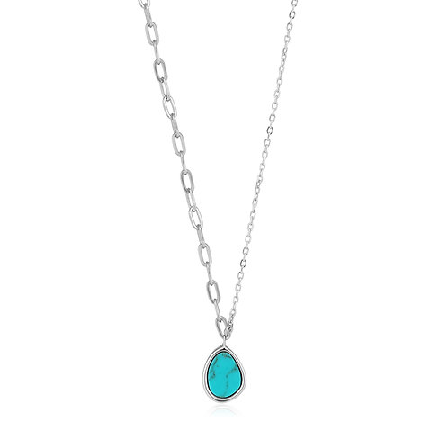 SS Turquoise Mixed Link Necklace