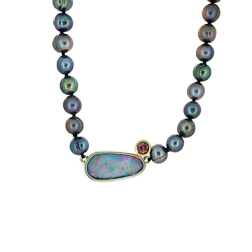 SS/14K Boulder Opal and Freshwater Pearl Necklace