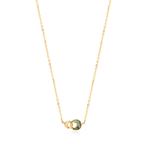 SS/GP Abalone Crescent Link Necklace