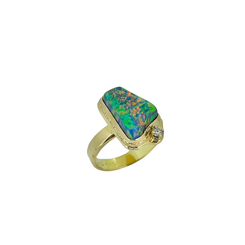 14KY Lab Created Opal Ring