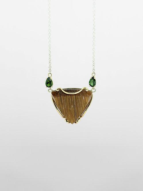 SS/14K Rutilated Quartz and Green Tourmaline Necklace
