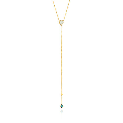 SS/GP Turquoise and Opal Y Necklace