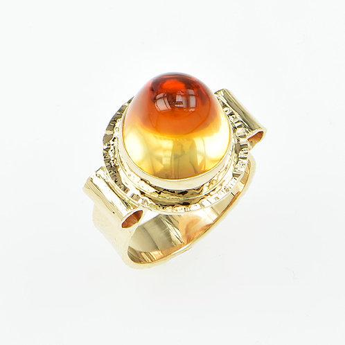 14KY Honey Citrine Cabochon Ring