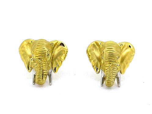Estate 14KY Elephant Cufflinks