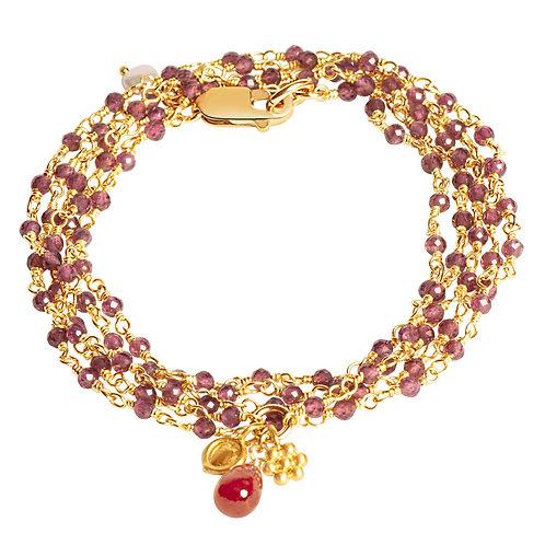 Rhodolite Garnet Wrap Bracelet