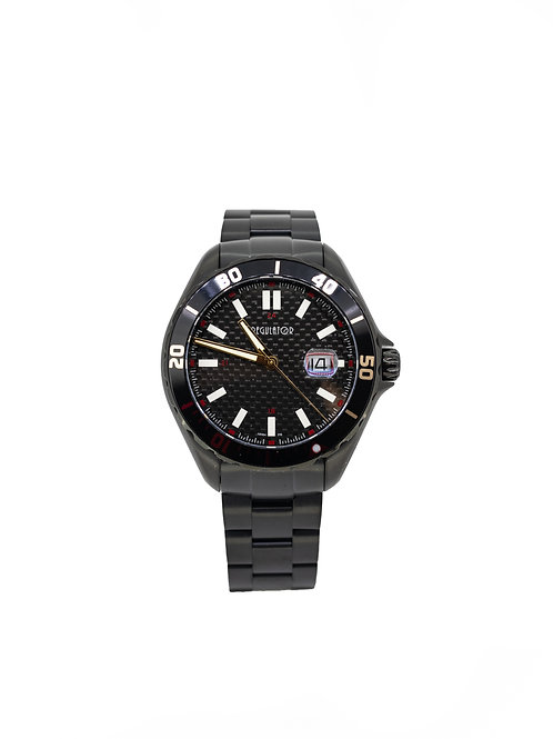 Stainless Steel Black Plated Watch with Diver Bezel and Date.