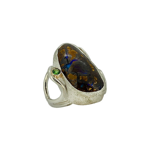 SS/14K Boulder Opal and Tsavorite Ring
