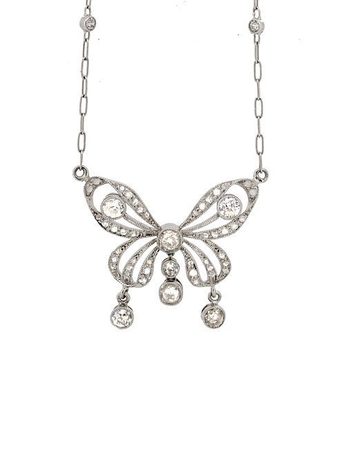 Estate Platinum Butterfly Necklace