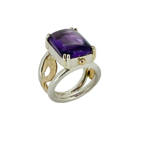SS/14KY Amethyst Cabochon Ring