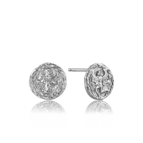 SS Boreas Coin Stud Earrings
