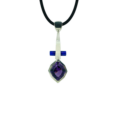 SS Amethyst and Lapis Pendant