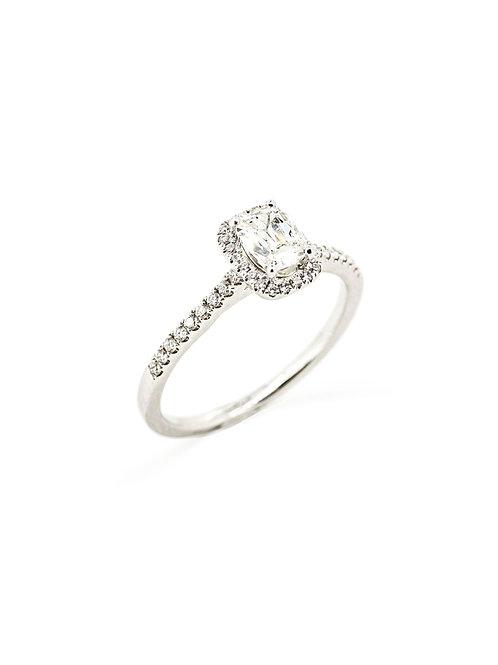 18KW Cushion Diamond Halo Ring