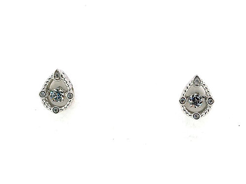 SS Petite Pear Milgrain Earrings