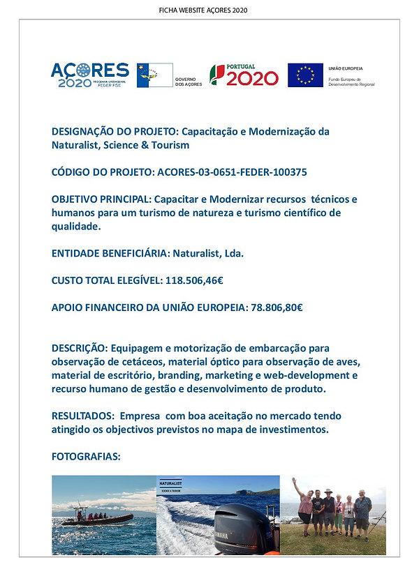 Ficha Projeto ACORES2020_FEDER NATURALIS