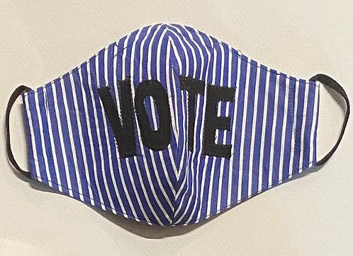 Blue and white fine cotton VOTE mask