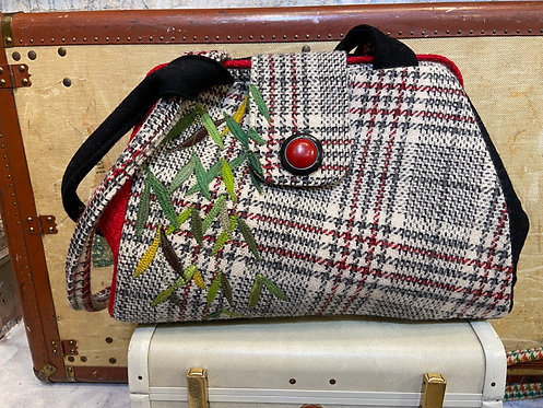 red and black plaid evelyn bag