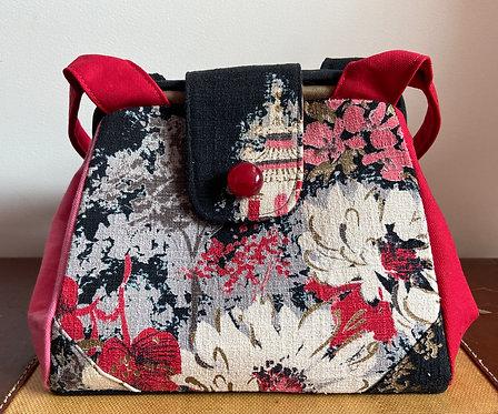 floral fireworks barkcloth dot bag