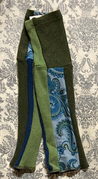 blue and green paisley merino and cashmere gloves