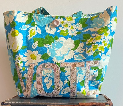 turquoise and lime barkcloth VOTE bag
