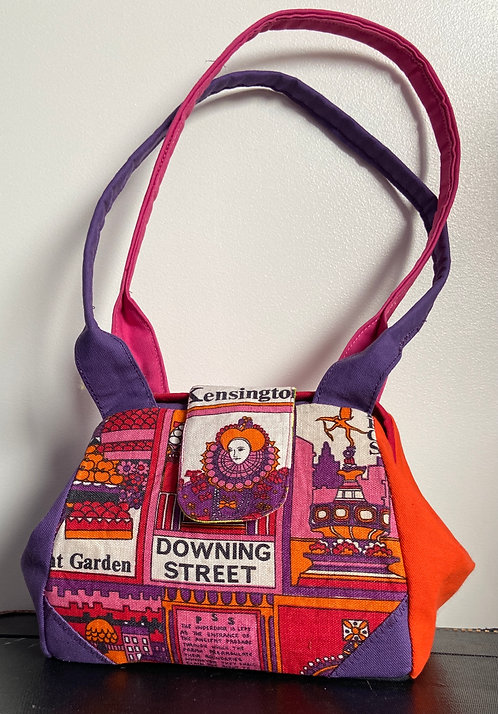 pink and purple queen Elizabeth tea towel dot bag