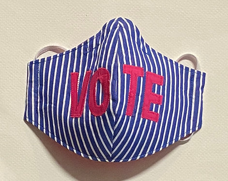 blue/white/pink VOTE mask